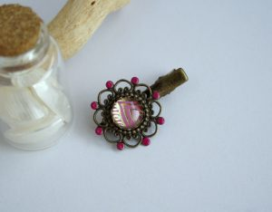 barrette rose et or
